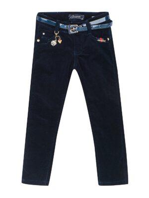 Утеплені велветові штани для дівчинки на ремінці сині