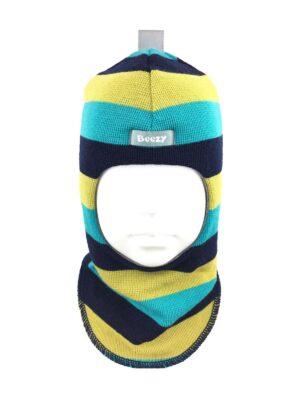 Шапка шолом зима синя в смужку бірюза і гірчиця