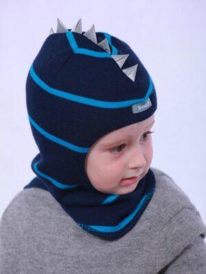 Шапка шолом для хлопчика синя з бірюзовою смужкою