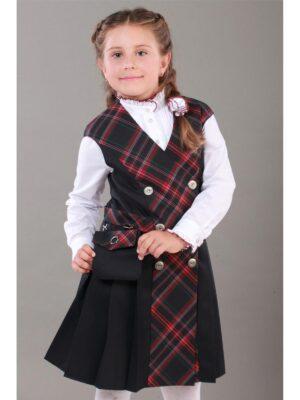 Сарафан для дівчинки синій шкільний з сумочкою 195