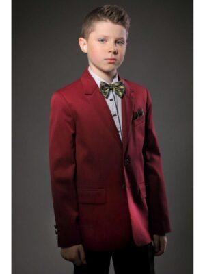 Шкільний піджак для хлопчика бордового кольору 017