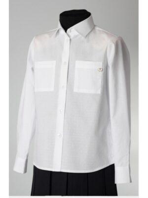 Блуза белого цвета с длинным рукавом для девочки 085 Велма