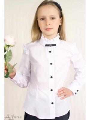 Блуза для дівчинки біла з коміром з оборочками