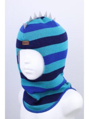 Шапка шлем для мальчика бирюзовая полоска