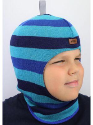 Шапка шолом зимова для хлопчика смужка Бірюзова