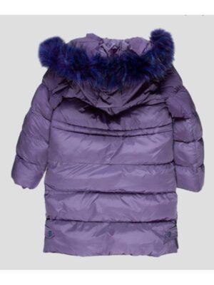 Зимнее пальто для девочки василькового цвета на синтепоне