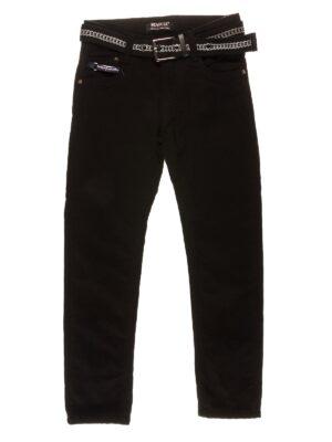 Брюки-джинсы для мальчика черные с ремешком на флисе 89925-1 Seagull