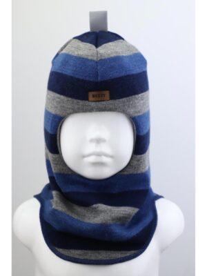 Шапка шлем зимняя для мальчика сине серая полоска