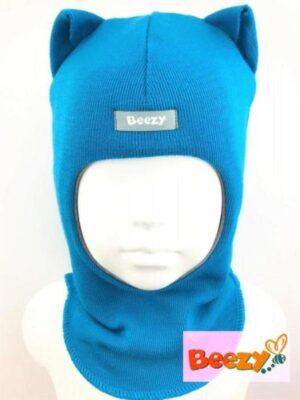 Шапка шолом зимова для хлопчика бірюзового кольору з вушками