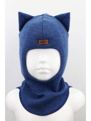 Шапка шолом зимова для хлопчика сіро синього кольору з вушками