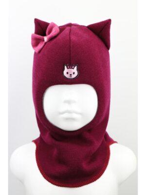 Шапка шолом для дівчинки т. бордо з вушками бантиками Kitty