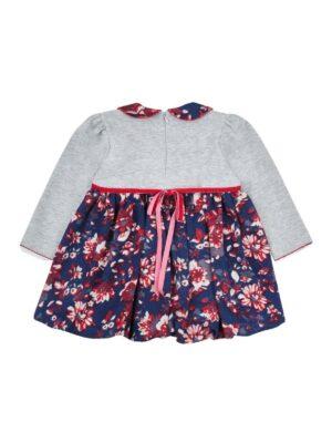 Платье серое с цветастой пышной юбкой Natalia
