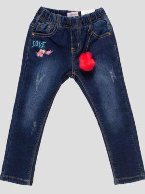 Утеплені джинси для дівчинки з пухнастим брелком