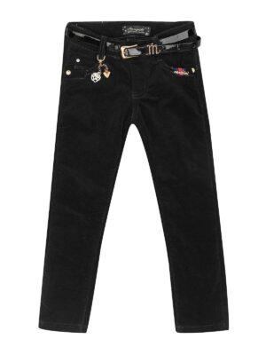 Утепленные велветовые брюки для девочки на ремешке черные 88822