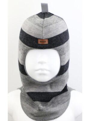 Шапка шлем для мальчика серо черная полоска Beezy