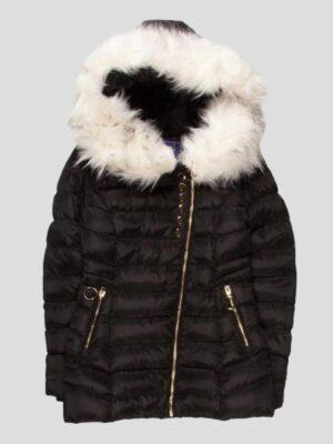 Куртка зимова для дівчинки чорного кольору з білим хутром