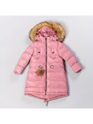 Зимове пальто для дівчинки рожеве зимове