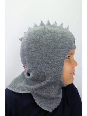 Шапка шлем для мальчика светло серая Дракоша Beezy