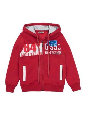 Худи куртка для мальчика красного цвета теплая