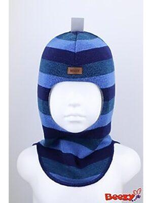 Шапка шлем зимняя для мальчика сине бирюзовая полоска Beezy