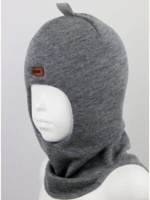 Шапка шолом зимова для хлопчика сірого кольору