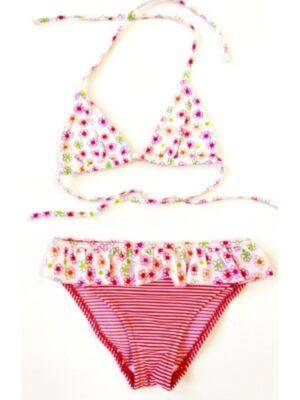 Купальник для дівчинки світло рожевий в квіточки Karina