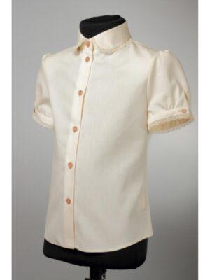 Блуза для дівчинки молочного кольору з коротким рукавом 191