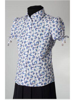 Блуза біла в Сині метелики з коротким рукавом