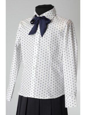 Блуза для дівчинки біла в сині кружечки з синім бантом