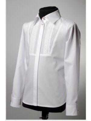 Блуза для дівчинки ошатна біла з красивим мереживом