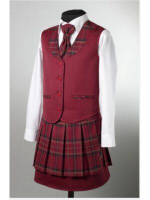 Шкільний жилет для дівчинки бордового кольору в клітку