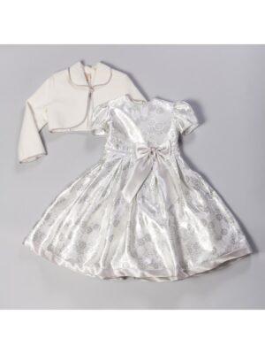 Плаття для дівчинки сіре в квіточки парча