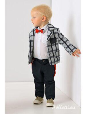Ошатний костюм для хлопчика піджак в клітку і сині штани