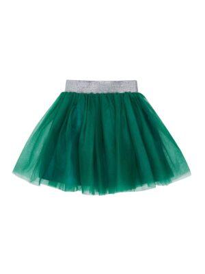 Юбка для девочки с зеленого фатина с атласной подкладкой