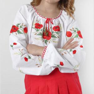 Вишиванка для дівчинки з червоними маками Арт. Маки Гармонія