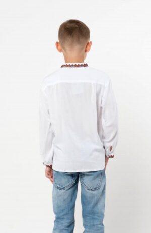 Вишиванка для хлопчика вишивка червоно помаранчевим