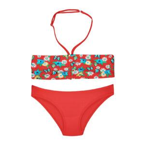 Купальник для дівчинки роздільний в яскраві квіти червоний Summer