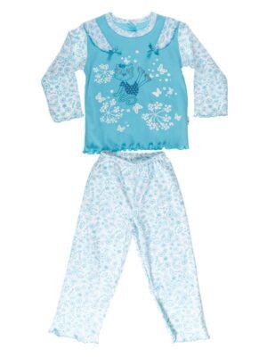 Пижама бирюзовая для девочки с длинным рукавом