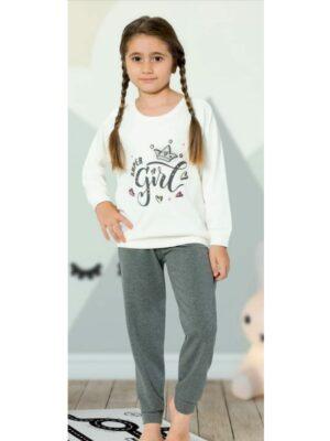 Пижама для девочки плотный трикотаж белый верх и серый низ 483 Kazan bebe