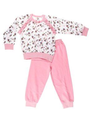 Пижама для девочки мишка с цветочками бело-розовая