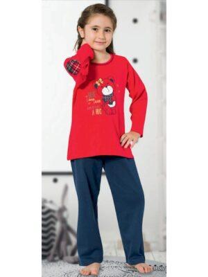 Пижама для девочки с плотного трикотажа красно синяя 485 Kazan bebe