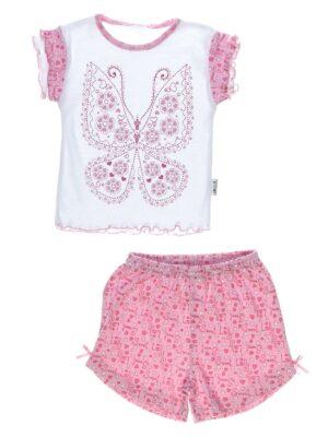 Летняя пижама для девочки с бабочкой розовая