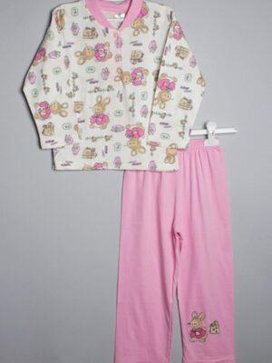 Пижама летняя розовая для девочки с длинным рукавом