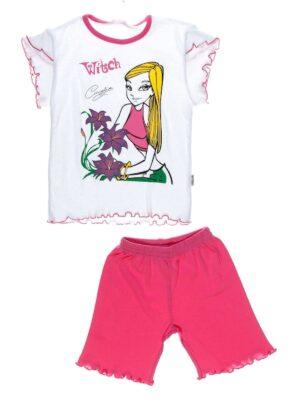Пижама для девочки короткий рукав и шорты бело-розовая