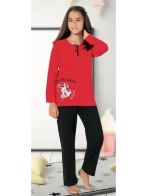 Пижама для девочки трикотажная красная с черным низом