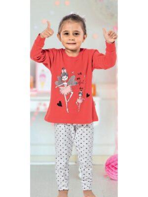 Пижама для девочки с трикотажа красная с принтом феи