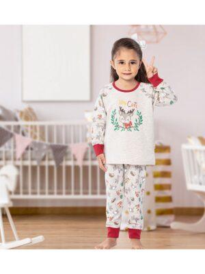 Теплая пижама для девочки бежевая с бордовой отделкой 192 Kazan bebe