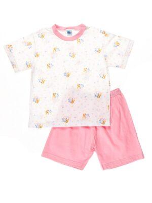 Пижама для девочки бело розовая в принт с мишками 6440