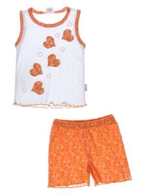 Піджама для дівчинки з сердечками біле помаранчева