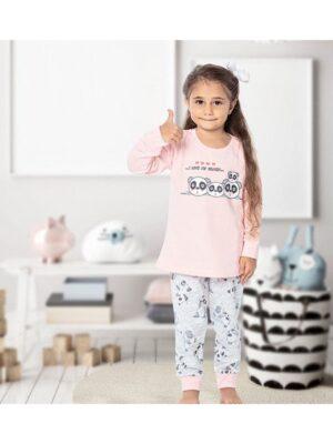 Піжама для дівчинки персик сіра з пандами